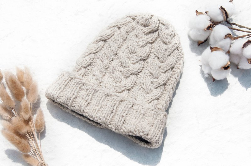Hand-knitted pure wool cap / knit hat / knitted fur cap / inner brush hair hand-woven wool cap / wool cap - rice gray