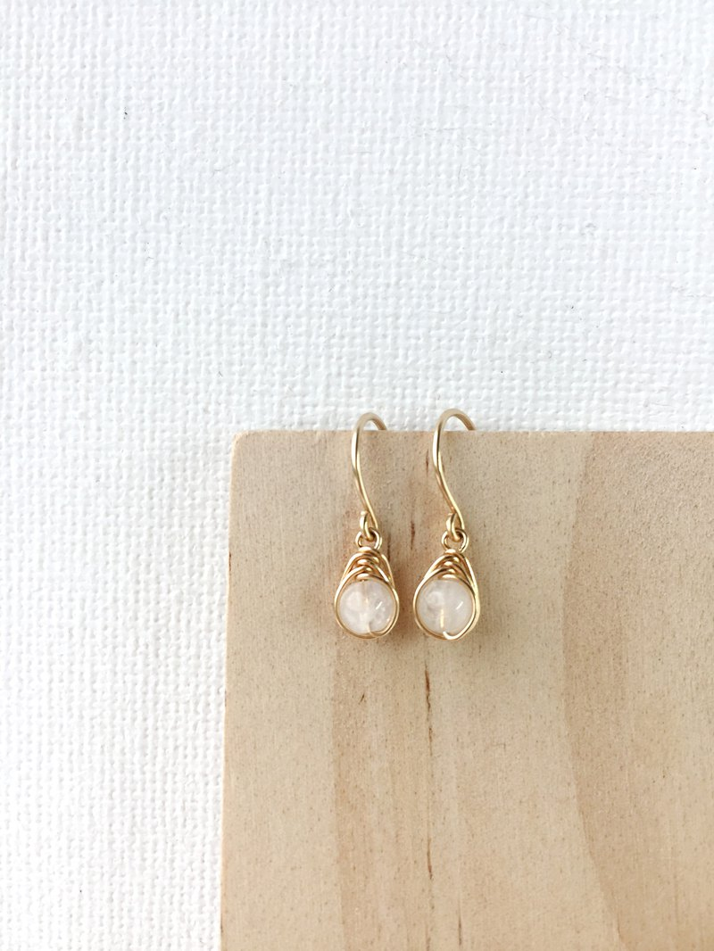 Tiny Moonstone Dangle Earrings 14K Gold Filled, Sterling Silver Real Moonstone