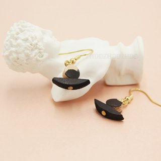 [Polish ink series] ink boat Chinese style pure hand-tanned leather leather dyed earrings ear clip earrings