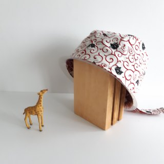 Cat (red) double-sided hooded cap cooking work cap