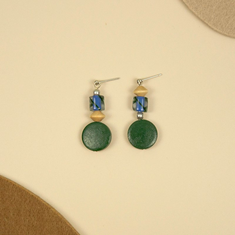 Blue and Green Glass Beaded Wood Earrings