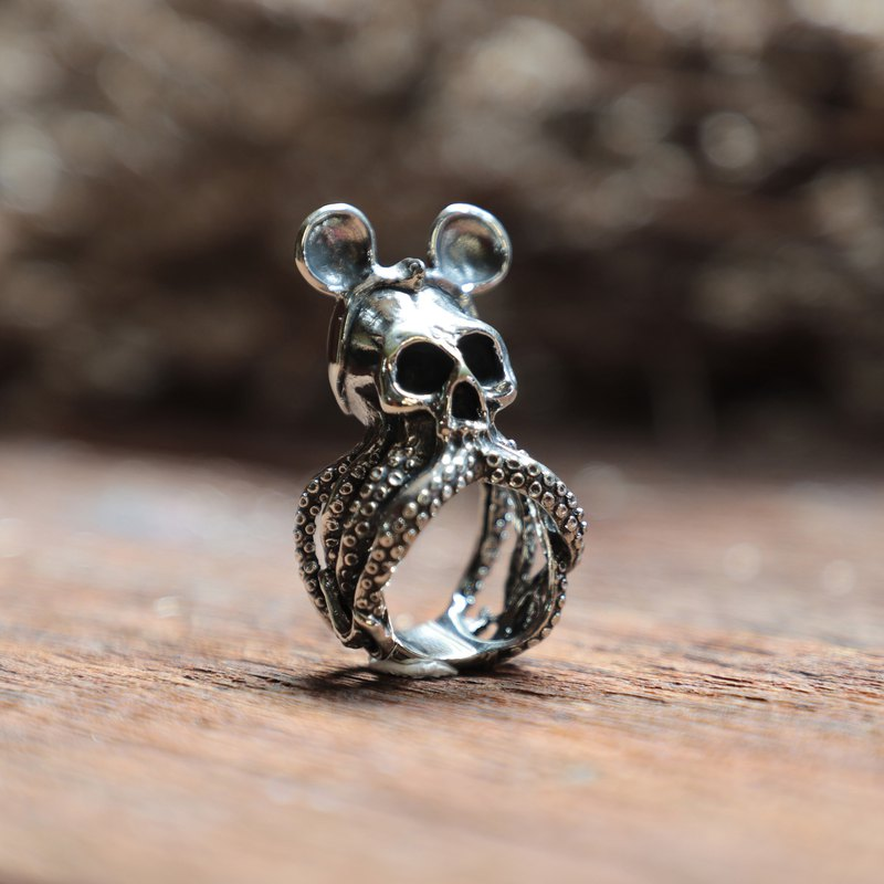 octopus skull mouse ring men sterling silver biker steampunk tentacle squid 925