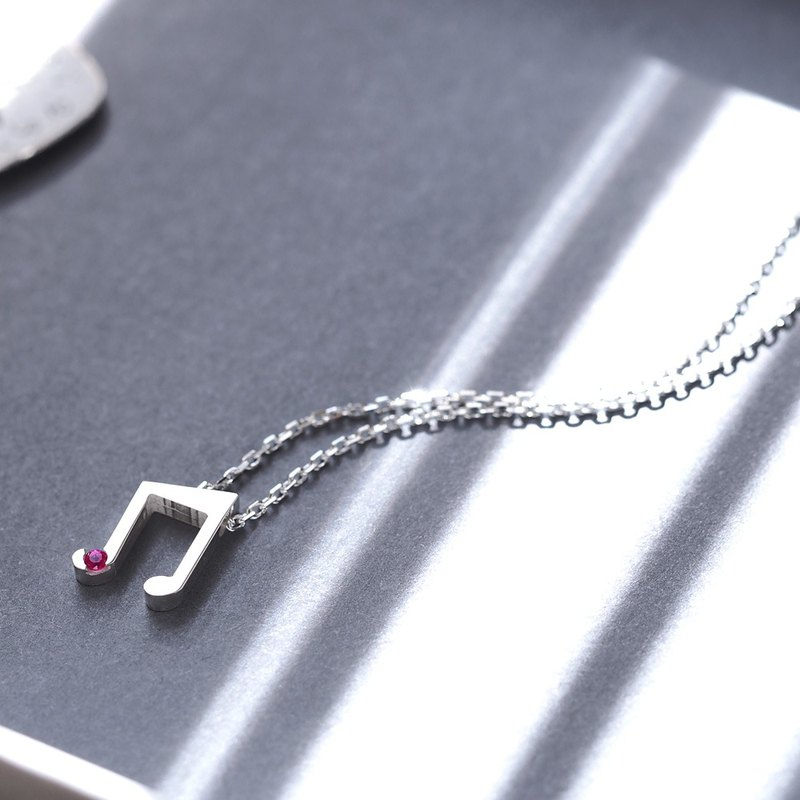 Ruby double tie necklace silver 925