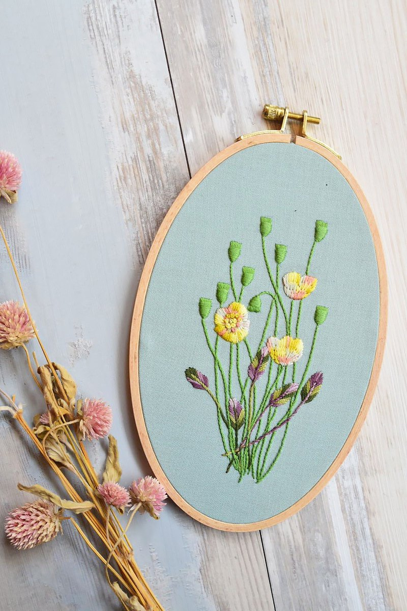 Spring on the road | embroidery painting