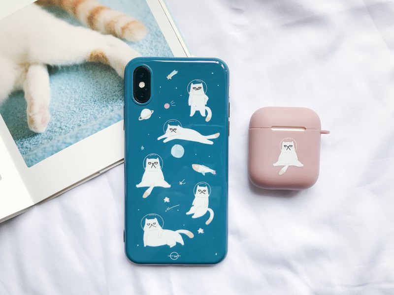 Grumpy Spacecat IPhone Case and Airpods Case Set