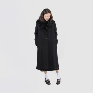 [Egg plant ancient] light silk black shadow fur collar vintage coat