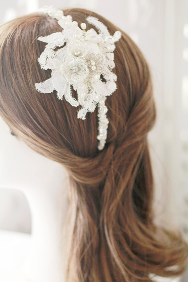 French Beaded Flower x Lace Bridal Hairband Bridal Headdress, Bridal Gown