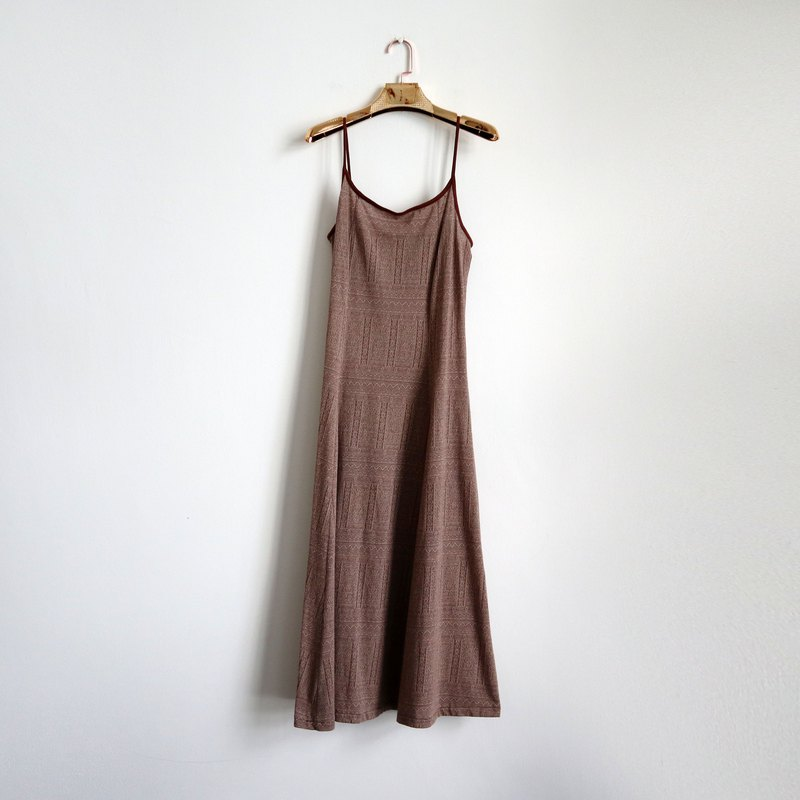 Pumpkin Vintage. Ancient brown thin wool shoulder strap long dress