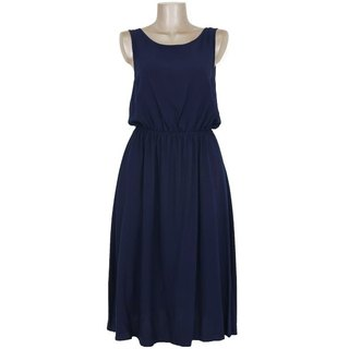 Rear View is cute! Back ribbon browsing Dress <navy>