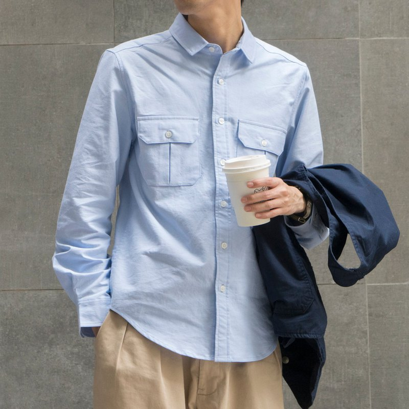 Early spring new Japanese with oxford fabric multi-pocket tooling daily shirt male shirts