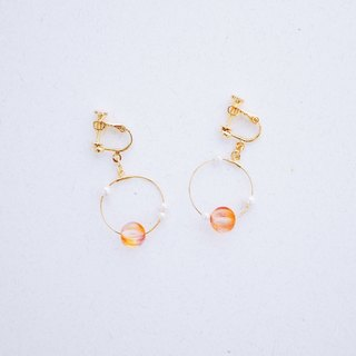 Dawn - Peach tangerine glass beads crystal pearl earrings (Christmas gift)