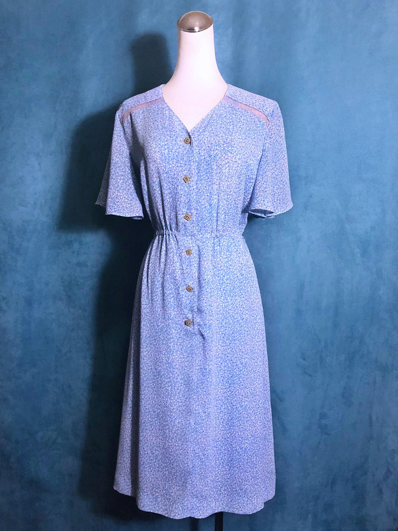 Lace Shoulder Dress Wide Arc Sleeve Vintage Dress / Bring VINTAGE Abroad