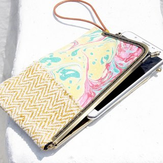 Valentine's Day gift set a hand-made patchwork mobile phone bag / mobile phone case / coin purse / swim card sets / mouth gold package / mouth gold mobile phone sets - rendering ocean hand stained watercolor canvas + cotton (large)