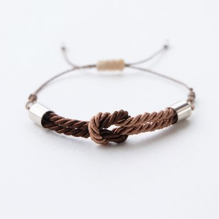 Tiny tie the knot rope bracelet in Cinnamon brown / Chocolate