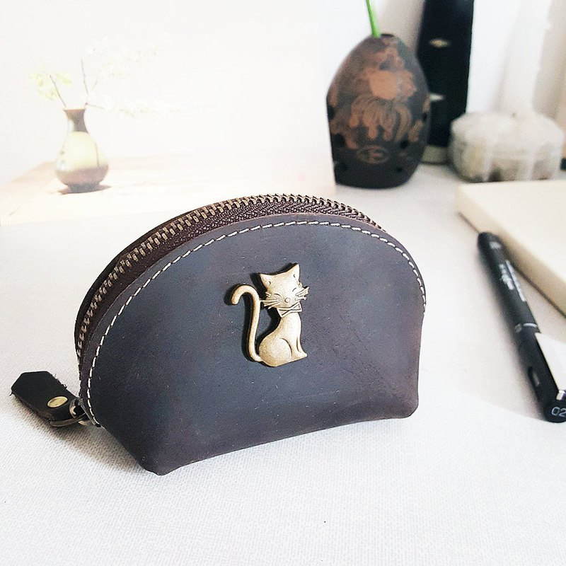 Kitten can be lettering Coin Purse Leather Pouch Zipper Packet Key package Small admission package Retro Shell package Birthday present
