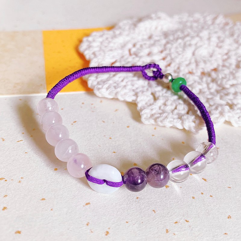 Hand dreaming. Natural Emerald Small Safety Button Woven Pink Crystal Amethyst White Crystal Bracelet Bracelet