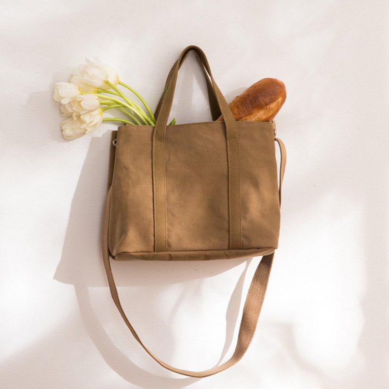 Nora Canvas 2way Tote (without inner bag) [Khaki Brown]