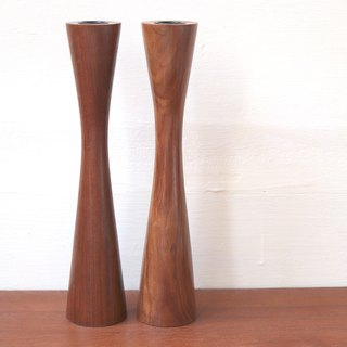 Swedish teak high candlestick two-piece