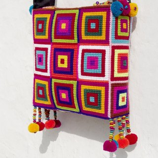 Christmas gift exchange gifts Christmas market set a limited handmade crochet side backpack / shoulder bag / Tote bag / Crossbody / knit bag / wayuu style embroidery bag - South American style square geometric square knit bag