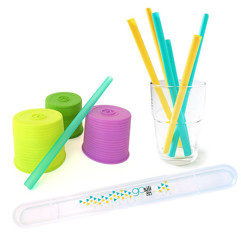 [US GoSili Platinum Silicone] 3 sizes + super elastic cup set to send straw storage box