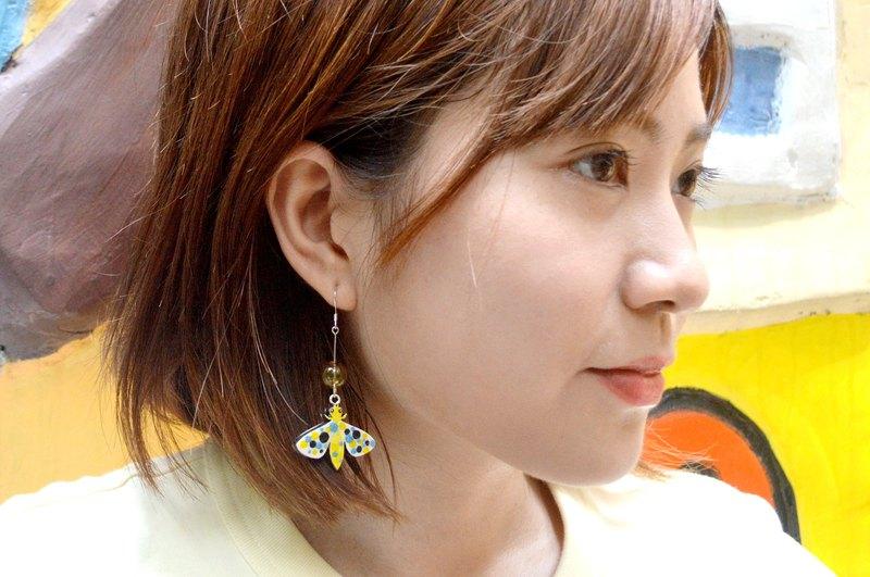 幻彩黃色小蜜蜂 彩色玻璃球 雙面手繪耳環耳夾 手繪木製