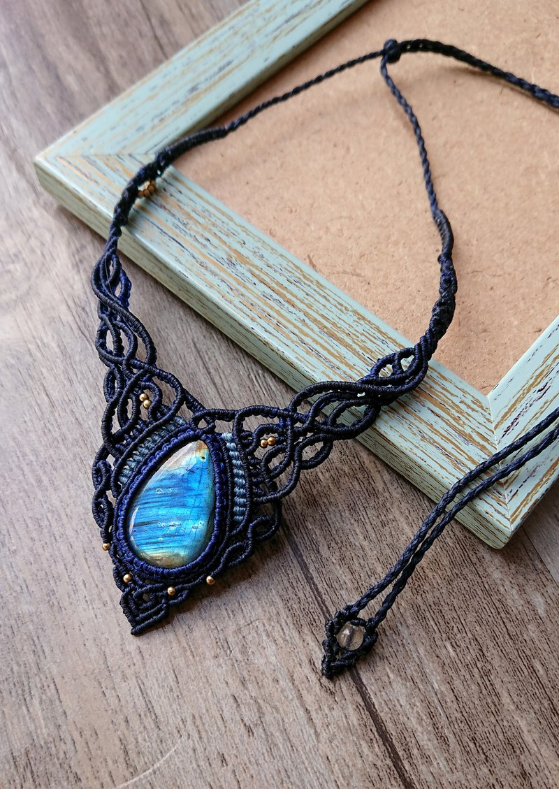 Misssheep-N110-Ethnic style South American wax line woven brass beads Labradorite necklace / clavicle chain