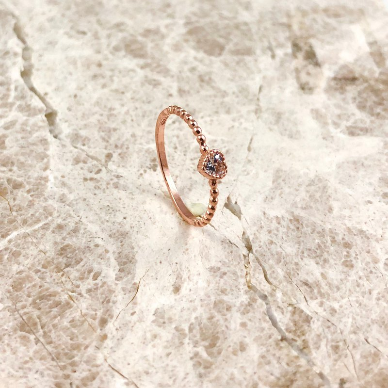 Bibi Fun Selection-Love Diamond Sterling Silver Rose Gold Ring (Free Shipping by Mail)
