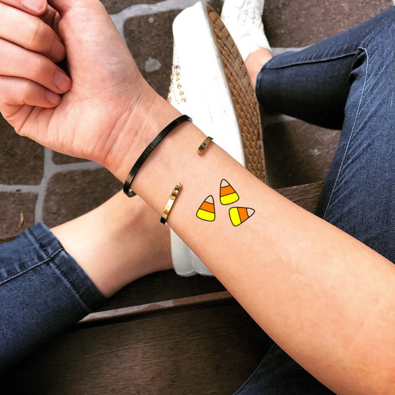 Candy Corn Temporary Fake Tattoo Sticker (Set of 2) - OhMyTat