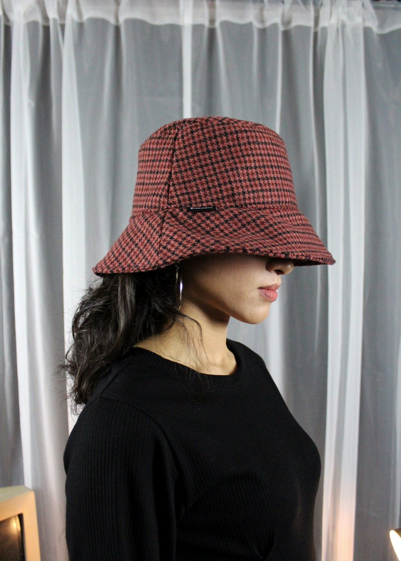 Wool-Blend Fisherman Hat-Red Plaid