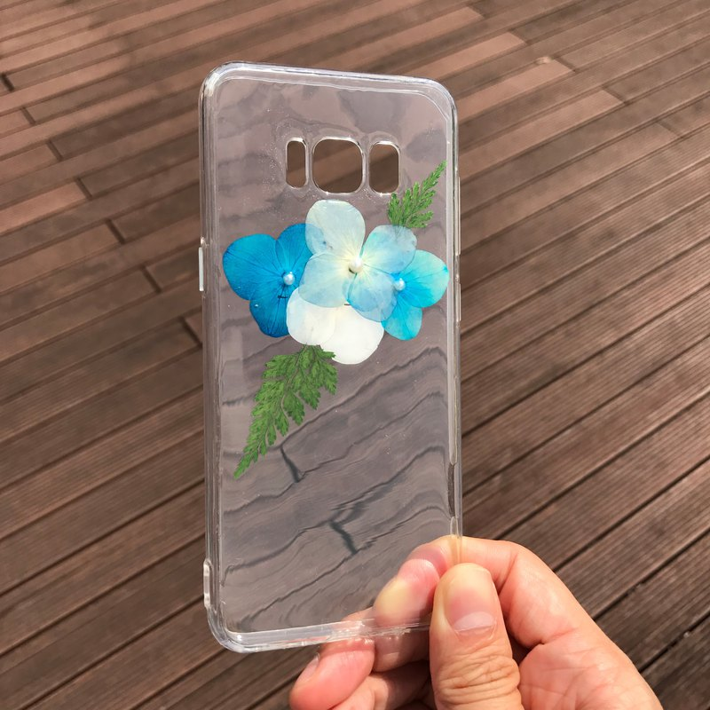 Samsung Galaxy S8 Plus Dry Pressed Flowers Case Blue Flower case 007
