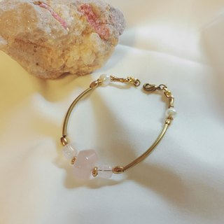Brightly_Rose Quartz with Pearl Brass Bracelet