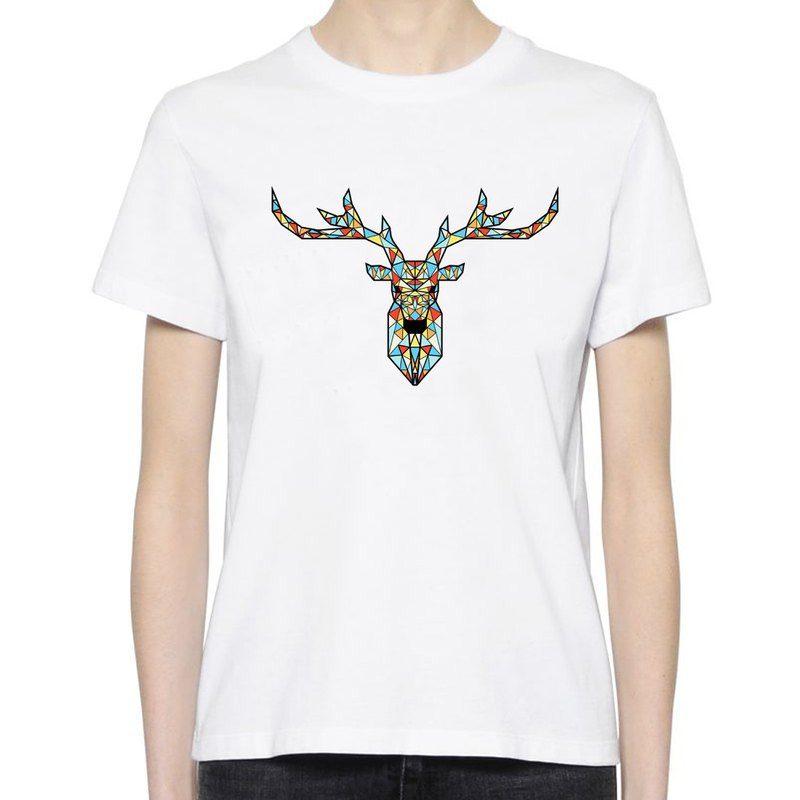 Deer Geometric Color white t shirt