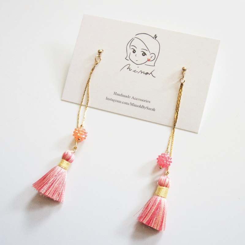 Pink Tassel Earrings in Stainless Steel Posts/ Clip-ons