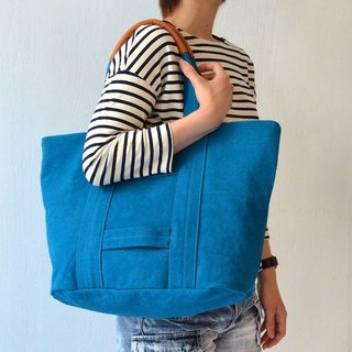 Kurashiki canvas tote bag - Rich blue