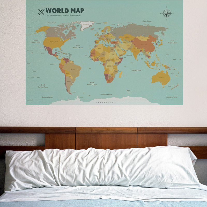 World Map / Pale Blue-Easy Wall Stickers