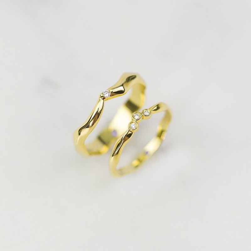 【Thorns Love】18K SOLID GOLD COUPLE RING, WEDDING RING - MEAS 102AB