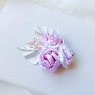 Pink white rose ribbon flower brooch or hairpin