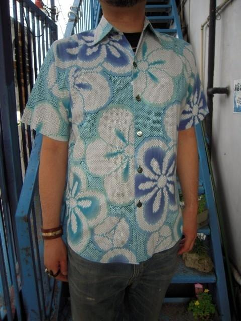 This dyed yukata cloth remake shirt (Hikita dyed flowers A pattern)