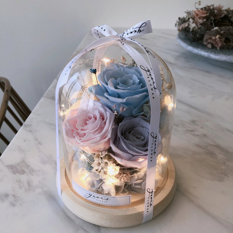 kikilala fantasy color birthday gift eternal flower night light memorial day glass cover dry flower