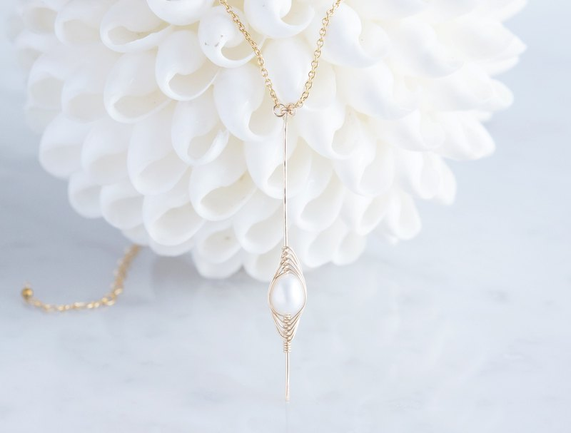 【Tsubomi】14KGF Necklace-White Pearl-