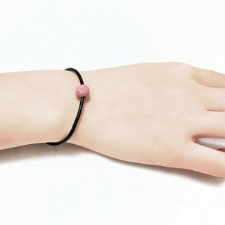 Pink Lava Rock Diffuser Thin Black Natural Leather Bracelet with Extend Chain