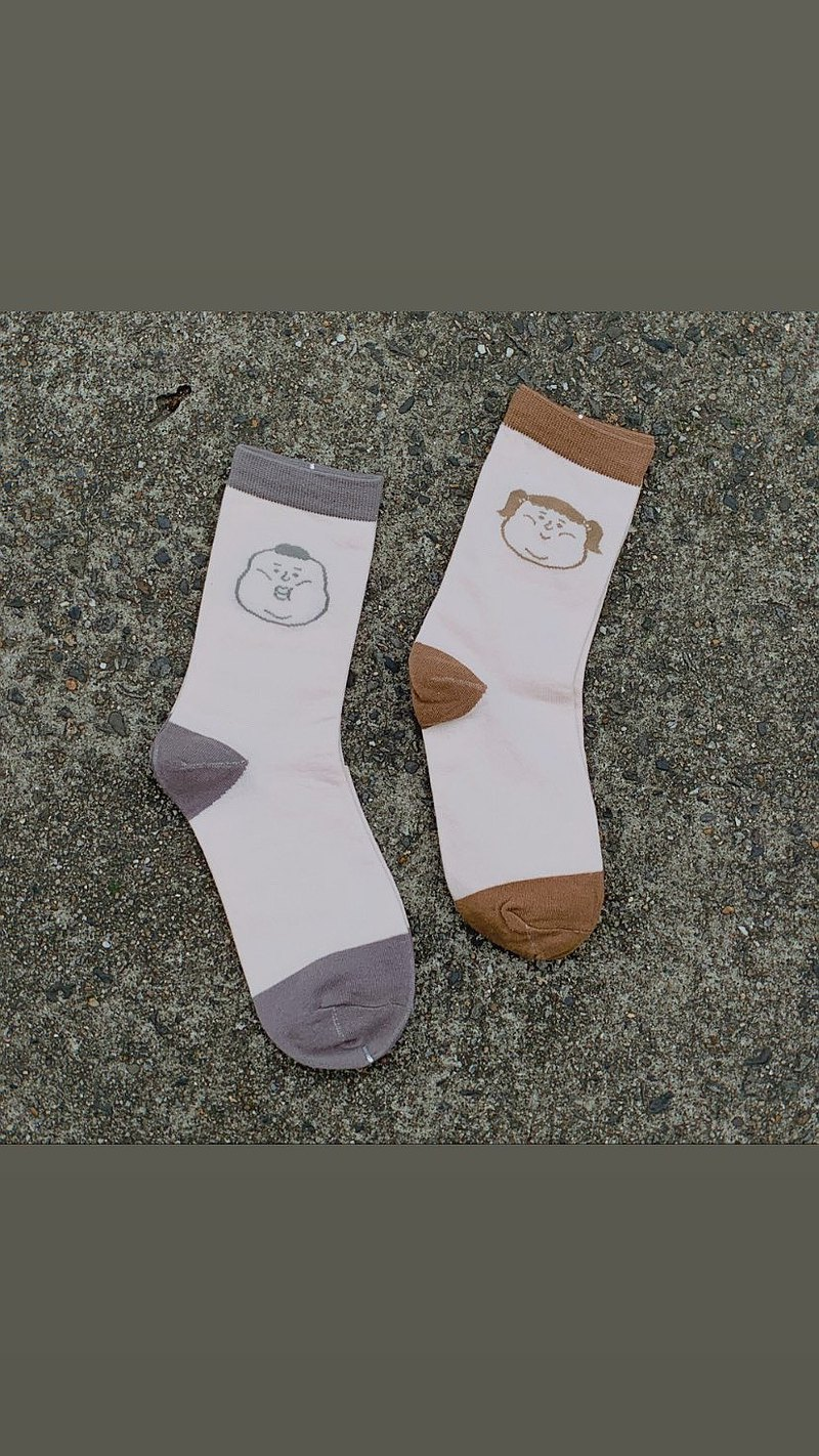 Malt milk / contrast color socks