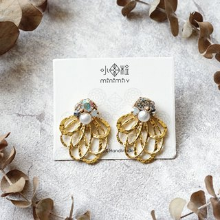 Floral Skirt -  Crystal Pearl Earrings