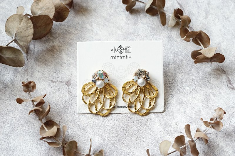 Floral - 18K Crystal Pearl Earrings