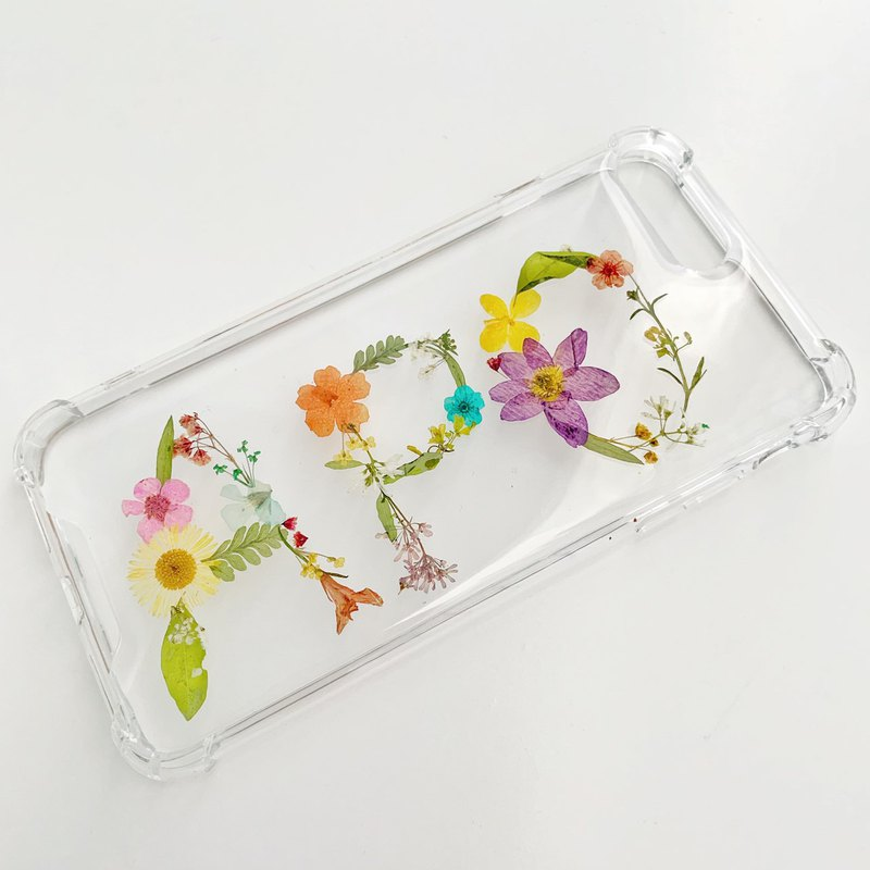 Custom-made 3-words name :: pressed flower phone case