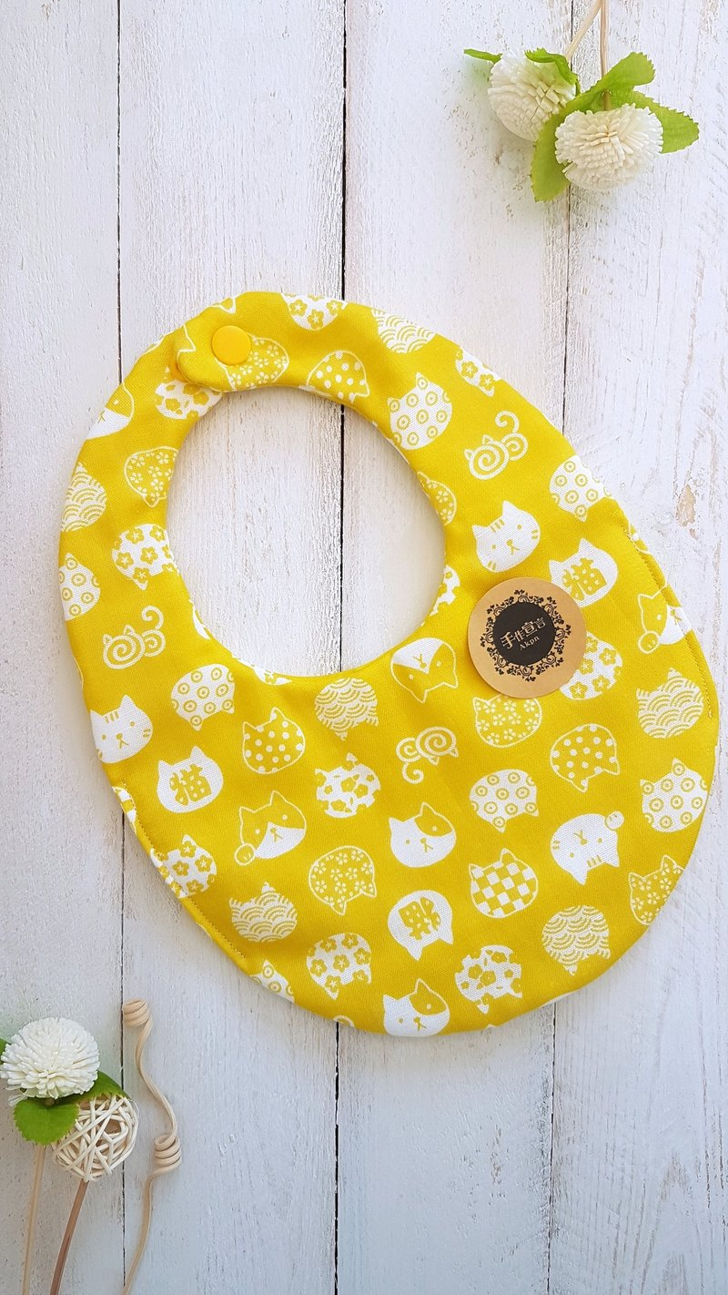 Mustard yellow cat-eight layers of yarn 100% cotton double-sided egg-shaped bib saliva towel (a total of five colors are available)