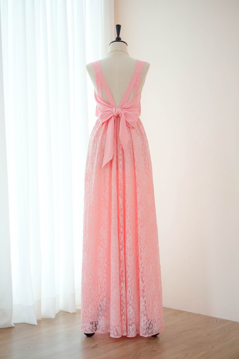 Baby Pink dress Lace dress Bridesmaid Prom Cocktail Party Wedding Dress