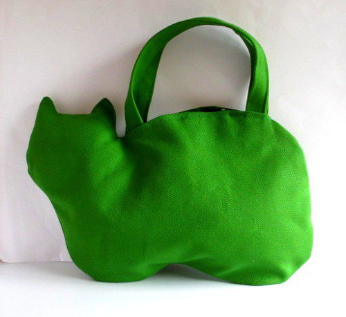 Green cat bag in canvas