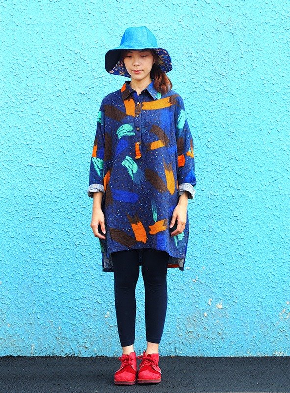 Calf Calf Village ├ original village not Zhuangshan ┤ hemp cotton long-sleeved shirt dress {stars} painted blue [J-04]