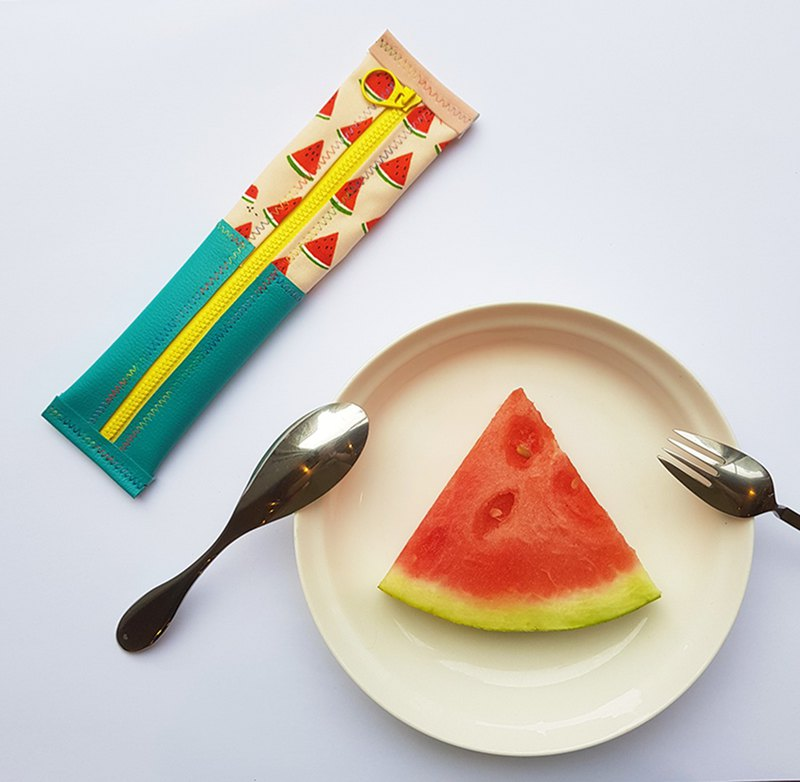 [Internal width 6cmX Length 23cm] 2 sides waterproof environmental protection tableware bag & pencil bag-watermelon bite